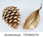 gold pinecone and gold leaf.... | Shutterstock . vector #729283174