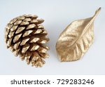 Gold Pinecone And Gold Leaf....