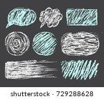 chalk brushuees set. frame or...   Shutterstock .eps vector #729288628