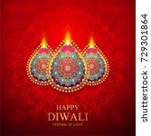 happy diwali festival card with ... | Shutterstock .eps vector #729301864