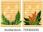 two wooden boards with flower... | Shutterstock .eps vector #729303250