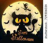 halloween black cat moon night... | Shutterstock .eps vector #729306034