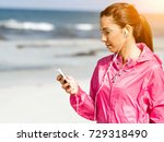 sporty woman with earphones on... | Shutterstock . vector #729318490