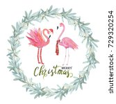 christmas tropical frame....   Shutterstock . vector #729320254