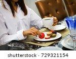 young woman wearing white shirt ... | Shutterstock . vector #729321154
