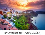 amazing sunrise at oia town on... | Shutterstock . vector #729326164