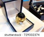 black spinel ring for men. | Shutterstock . vector #729332374