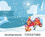 people having winter picnic... | Shutterstock .eps vector #729337480