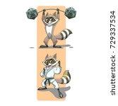 raccoon practicing karate and... | Shutterstock .eps vector #729337534