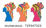 girl with high hair and ribbons ... | Shutterstock .eps vector #729347323