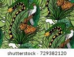 jungle animals on white... | Shutterstock .eps vector #729382120