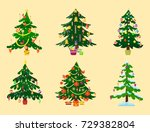 pine tree cartoon green vector... | Shutterstock .eps vector #729382804