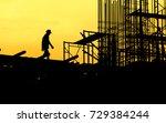 construction worker working on... | Shutterstock . vector #729384244