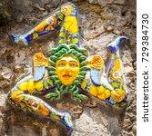 a typical ceramic trinacria ... | Shutterstock . vector #729384730