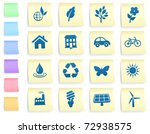 environment icons on post it... | Shutterstock .eps vector #72938575