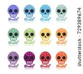 colorful sugar skull logos for...   Shutterstock .eps vector #729389674