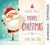 santa claus with big signboard. ... | Shutterstock .eps vector #729392620