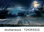 Stock photo spooky halloween background with empty wooden planks dark horror background celebration theme 729393523