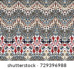 abstract iket zig zag pattern | Shutterstock . vector #729396988