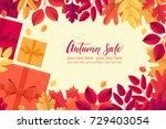 various autumn leaves  gift...   Shutterstock .eps vector #729403054