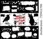 collection of halloween symbols ... | Shutterstock .eps vector #729411700