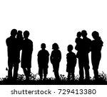 vector  silhouette of family  | Shutterstock .eps vector #729413380