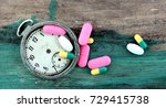 pills and capsules and vintage ...   Shutterstock . vector #729415738