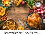 christmas or thanksgiving...   Shutterstock . vector #729417910