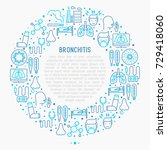 bronchitis concept in circle... | Shutterstock .eps vector #729418060