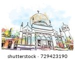 watercolor sketch of sultan... | Shutterstock .eps vector #729423190