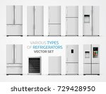 variable types of refrigerators.... | Shutterstock .eps vector #729428950