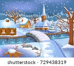 peaceful village covered by snow | Shutterstock .eps vector #729438319