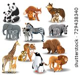 wild animals and their babies | Shutterstock .eps vector #729438340