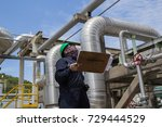 male worker inspection visual... | Shutterstock . vector #729444529