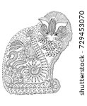 hand drawn cat. sketch for anti ... | Shutterstock .eps vector #729453070