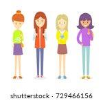 set of teen girl character... | Shutterstock .eps vector #729466156