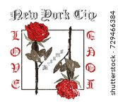 rock and roll roses. typography ... | Shutterstock .eps vector #729466384