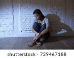 lonely young attractive... | Shutterstock . vector #729467188