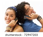 young couple using a mobile... | Shutterstock . vector #72947203