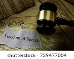Small photo of Freedom of Speech message on pages of the US Constitution with court gavel -- First Amendment concept