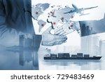 business of worldwide cargo... | Shutterstock . vector #729483469