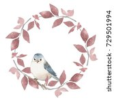 cute white bird and floral...   Shutterstock . vector #729501994