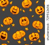 halloween seamless vector... | Shutterstock .eps vector #729512656