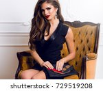 seductive fashionable woman in... | Shutterstock . vector #729519208