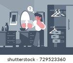 guy thinks standing near mirror ... | Shutterstock .eps vector #729523360