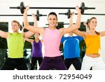group of five people exercising ... | Shutterstock . vector #72954049