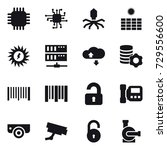 16 vector icon set   chip ... | Shutterstock .eps vector #729556600