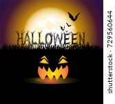 halloween with full moon and... | Shutterstock .eps vector #729560644