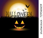 halloween with full moon and... | Shutterstock .eps vector #729560659