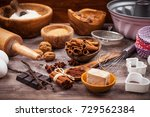 assorted baking ingredients and ... | Shutterstock . vector #729562384